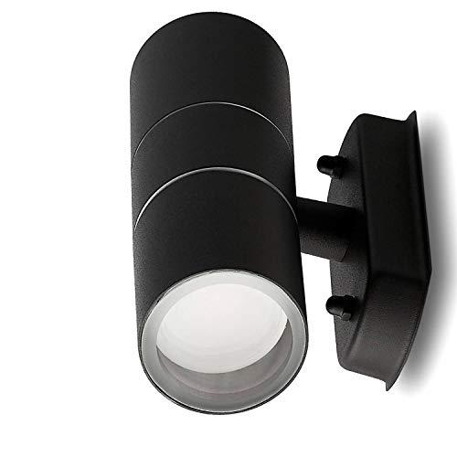 LED Wandleuchte Außen schwarz 3 Watt warmweiß – IP44 Up und Down Außen-Leuchte aus Aluminium – 2x GU10 Außenstrahler Garten-Lampe