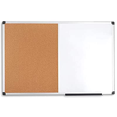 Blue Summit Supplies 36 Inch x 48 inch Combination Magnetic Whiteboard and Corkboard with Aluminum Frame, Melamine Dry Erase and Bulletin Board Combo, Detachable Marker Tray from Blue Summit Supplies