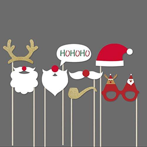 Pixnor Natale Photo Booth puntelli 8 pezzi fai da TE Kit Funny Photo Booth