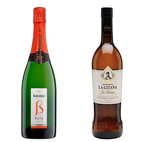 Beta Brut y Manzanilla en Rama - Vino Blanco y D. O. Manzanilla de Sanlúcar de Barrameda - 2 botellas de 750 ml