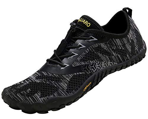 SAGUARO Hombre Mujer Barefoot Zapatillas de Trail Running Minimalistas Zapatillas de Deporte Fitness Gimnasio Caminar Zapatos Descalzos para Correr en Montaña Asfalto Escarpines de Agua, Negro, 44 EU