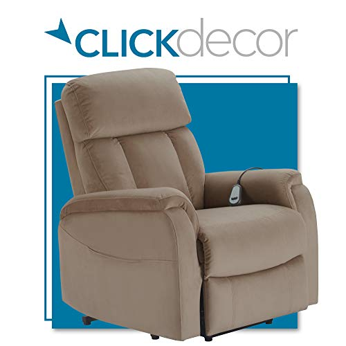 ClickDecor Samson Power Lift Recliner Sofa for Elderly Heavy Duty Motorized Living Room Chair with Side Pockets, Remote Control, Taupe