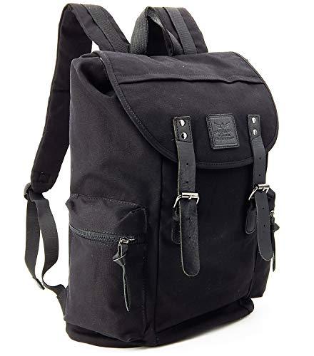 ekavale - Teenager-rucksack aus Canvas Groß – Daypack für Schule, Reise, Wandern, Freizeit – Backpack Schulrucksack (Schwarz)