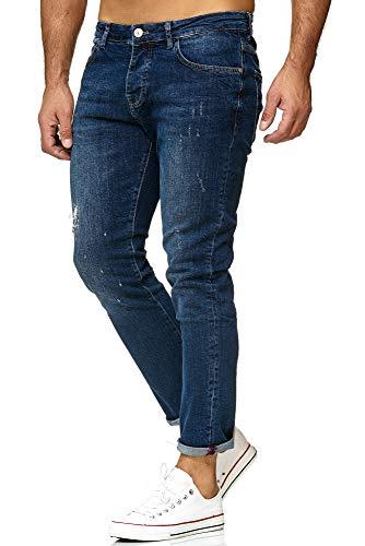 Red Bridge Denim Jeans Regular-Fit Vaqueros de Hombres Pantalón con Agujeros Vintage Azul Oscuro
