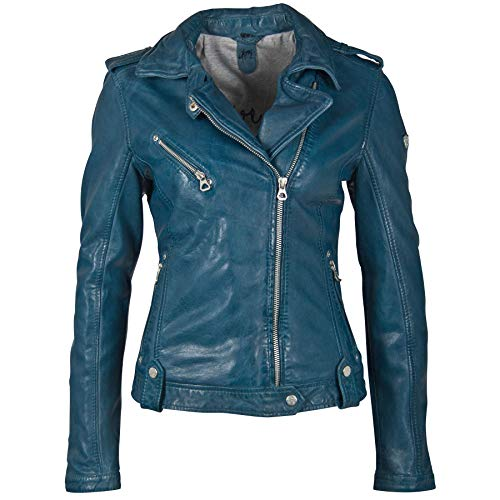 Gipsy Damen Bikerjacke aus feinstem Lammnappa Leder (S, Blau)