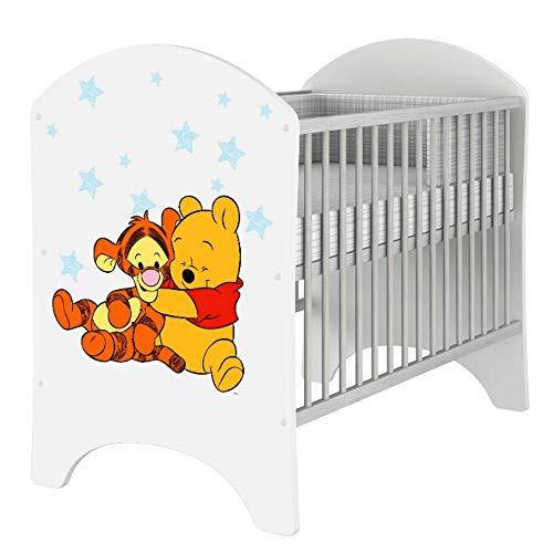 iGLOBAL Babybett Kinderbett Gitterbett Komplettset Ausstattung 2 Schlupfsprossen 3-fach Höhenverstellbarer Matratze Schaumstoff +Kokosfasern 120x60 cm (Winnie the Pooh Baby Pooh)