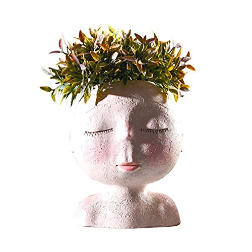 jinrun Plant Pots Creative Human Head Shape Vase Flower Pot Art Model Sculpture Resin ​Flower Plant Pots Home Garden Desktop Decorative Plant Containers