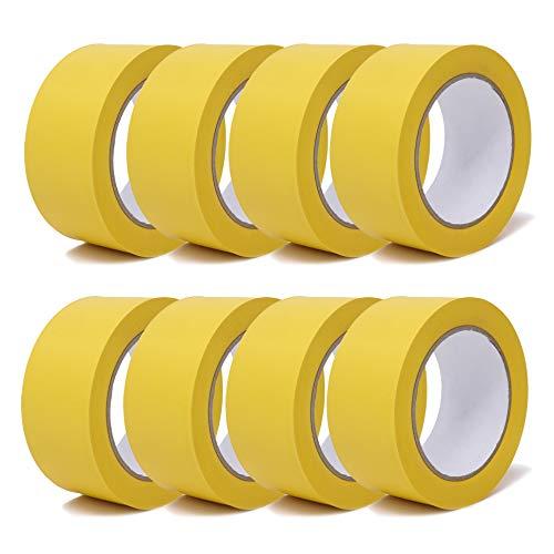 gws Putzband PVC gerippt Abklebeband von Hand reißbar | Maler-Schutzband in Profi-Qualität | versch. Farben & Breiten | Länge: 33 m (8 Rollen - 50 mm breit - gelb gerippt)