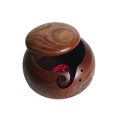 SAIrch Yarn Bowl Best Handmade Wooden Yarn Holder for Knitting&Crocheting, Knitting Bowl Yarn Ball Holder with Lid, Heavy & Sturdy to Prevent Slipping
