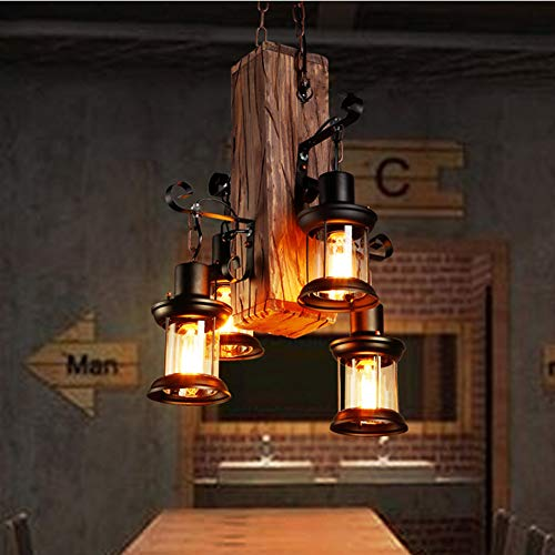 Lmpara de techo retro de madera, vintage, lmpara de techo industrial, para Loft, caf, bar, restaurante, 4 x E27
