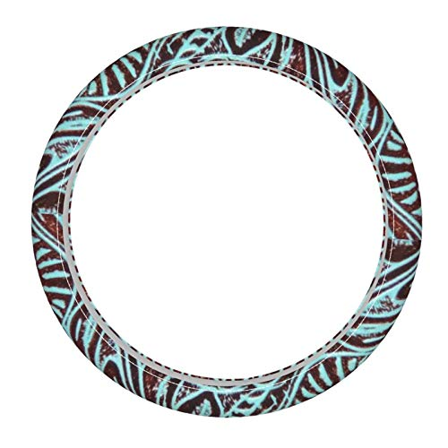 Country Teal Brown Western Rustic Tooled Cowboy Microfiber Leather Steering Wheel Cover Universal 15inch Car Steering Wheel Protector Wrap Covers for Auto SUV Truck Van