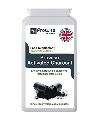 Carbón activado 300 mg 120 cápsulas - Fabricado en el Reino Unido | Estándares GMP de Prowise Healthcare