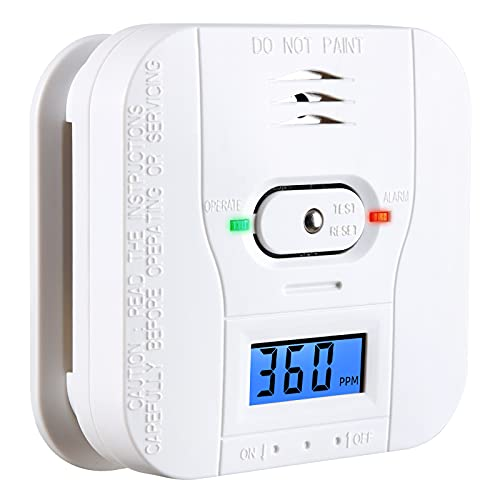 Combination Smoke and Carbon Monoxide Detector - Battery Operated Combo Smoke Carbon Alarm with 85dB Sound Warning LCD Display