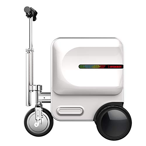 Rydebot Cavallo- Smart Motorized Scooter Rideable Suitcase/Luggage for Adults/Kids with Removable Battery, USB Charging Ports, Aluminum Alloy Frame, Bluetooth, TSA Lock, LED Lights, Silver