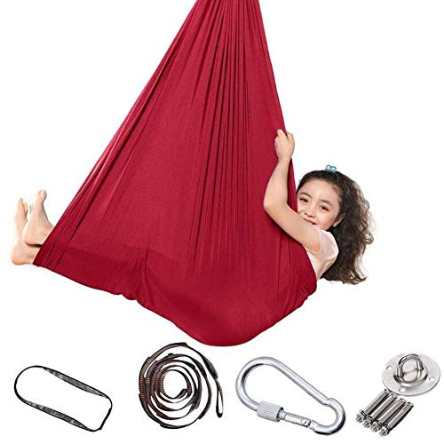 HYISHION Indoor Swing Hammock for Kids, Children Yoga Sensory Hanging Seat Kit for Outdoor Camping Soft Trapeze Hammocks Chair with Special Needs, 280 * 150CM (Color : Blue) SKYJIE (Color : Red)