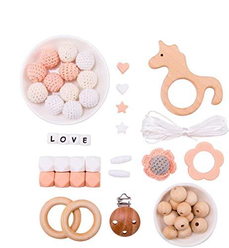 Mamimami Home DIY Baby Zahnen Spielzeug Silikon Krankenpflege Halskette Häkelnde Perlen Armband Hölzern Einhorn Schnuller Clips Baby-Duschen-Geschenk