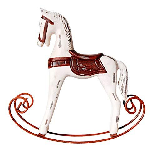 FLAMEER Ornamento Decorativo Cavallo A Dondolo in Legno Ferro 23,5 cm Alto - Bianco Caldo