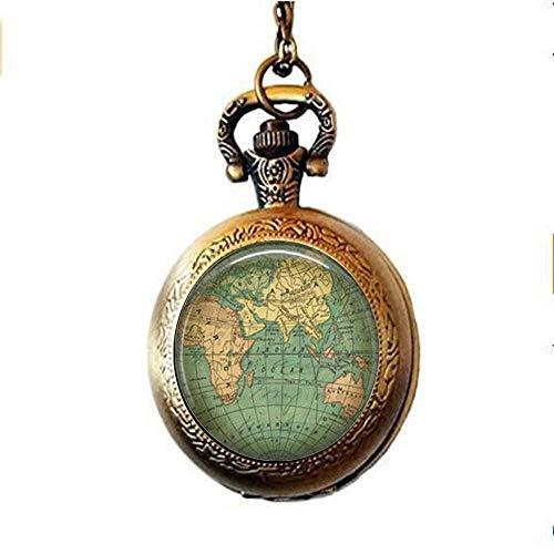 Vintage-Weltkarte Taschenuhr Halskette, alte Weltkarte, Weltkugel, Vintage-Weltkugel, Schmuck-Geschenk
