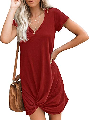Berryou Women's Casual Short Sleeve V Neck Front Knot Twist Tie T Shirt Dress Burgundy