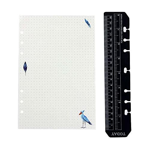 zhaita Filofax A5 Regla de plástico negro para cuaderno de cuaderno para cuaderno recargable de 6 anillos, organizador de diario, papel creativo, bonita almohadilla de recarga