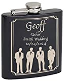 Top Shelf Flasks Personalized Custom Engraved Matte Black 6oz Stainless Steel Flasks for Weddings, Etching Lasts a Lifetime (1)