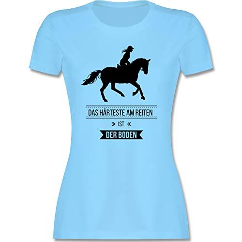 Reitsport - Das Härteste am Reiten ist der Boden - M - Hellblau - reiten Tshirt lustig - L191 - Tailliertes Tshirt für Damen und Frauen T-Shirt
