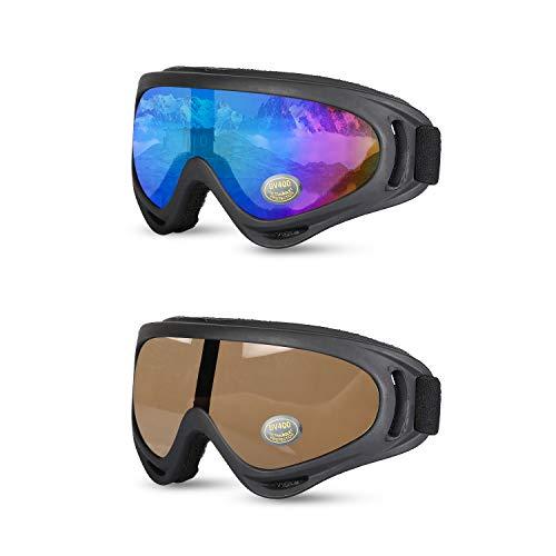 Yizhet Gafas de Esquí Gafas de Nieve a Prueba de Viento, Anti-Niebla Gafas Esqui Snowboard con Protección UV 400, Resistentes al Viento,Lentes Anti-Reflejo para Mujer Hombre,Chicos y Chicas( 2 Piezas)