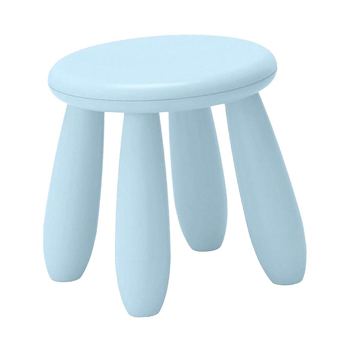 狂人フラフープ契約した耐久性 椅子 チェア スツール プラスチック製 子供用 安全 丸 組み立て 全9色 家庭保育園用 - ライトブルー