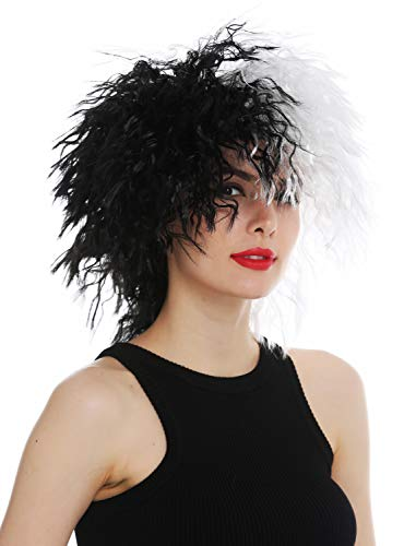 WIG ME UP ® - 30720-P103-68 Peluca para Mujeres Halloween Carnaval Salvaje Pelo voluminoso Ondulado Negro Blanco Partido en Dos