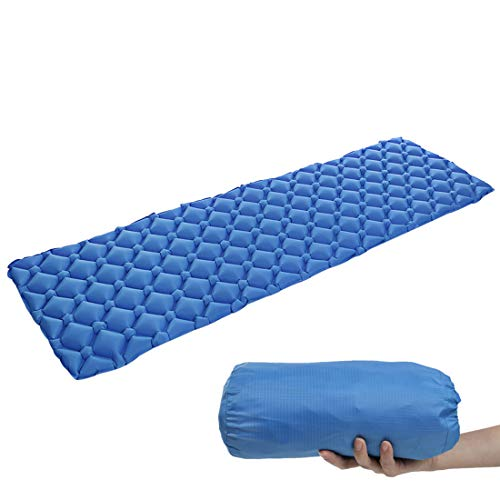 Camping Sleeping Pad with Inflatable Pillow Camping Mat, Best Sleeping Pads for Backpacking Sleeping Bag Lightweight, Waterproof, Compact for Adults Kids (Blue, 190×56×6cm)