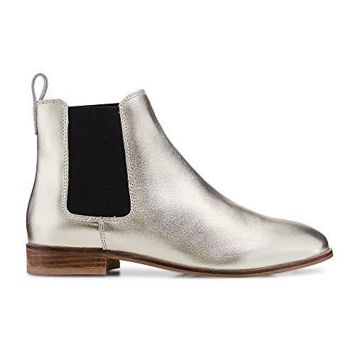 Cox Damen Chelsea-Boots aus Leder, Stiefelette in Gold mit Stretch-Einsatz Gold Glattleder 40