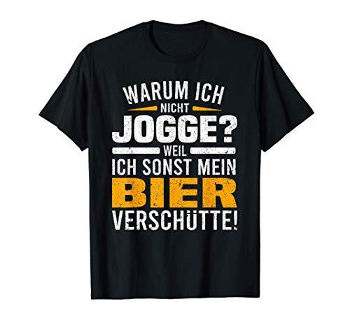 Joggen Sportmuffel Bier Biertrinker Sport Faul Chillen T-Shirt