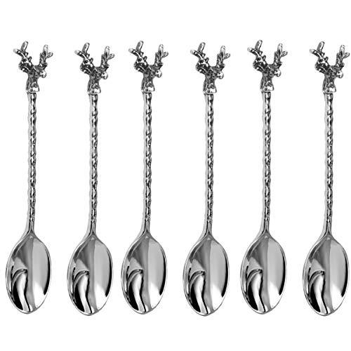 silberkanne Juego de 6 cucharillas de café (13 cm), diseño de ciervo,...