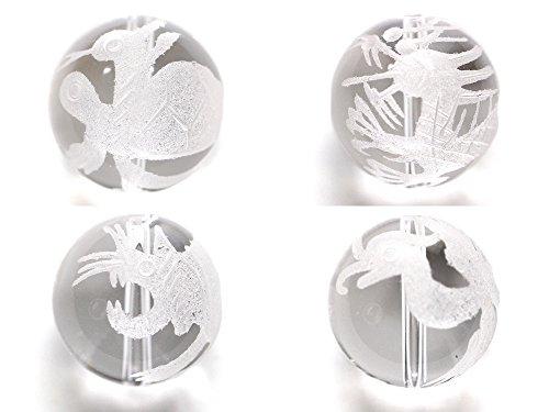 (SAJ)四神 水晶 白 4玉セット パワーストーン 天然石(12mm)(縦穴)