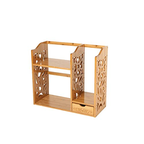 Bambú Escritorio pequeño Estante Simple Estante Sólido Madera Sólido Oficina Escritorio Acabado Almacenamiento Estante Creativo Antiguo Pequeño Librería (Color : A, Size : 1)