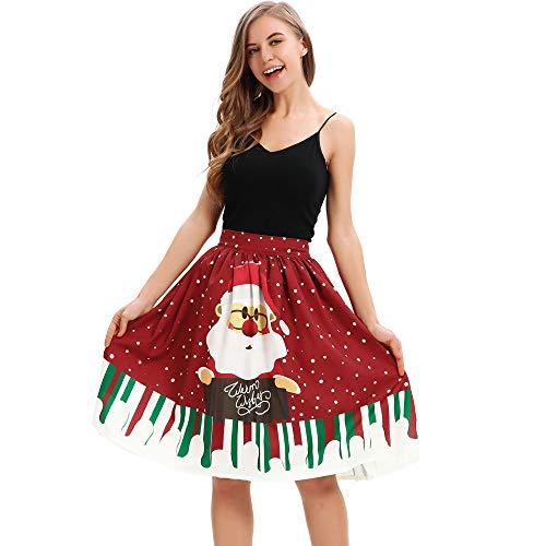 URVIP Damen Weihnachten Retro A-Linie Plissee Vintage Midi Rock Geblümter Druck Reißverschluss Freizeit Rock Tanzrock Partykleidung BZQ-048 XL