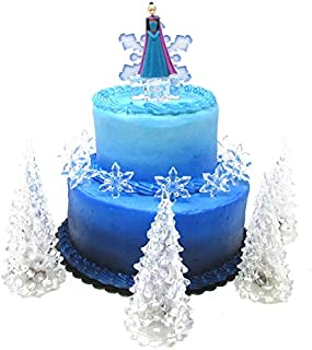 Frozen Queen Elsa Winter Wonderland Themed Birthday Cake Topper Set Featuring Elsa and Decorative Themed Accessories