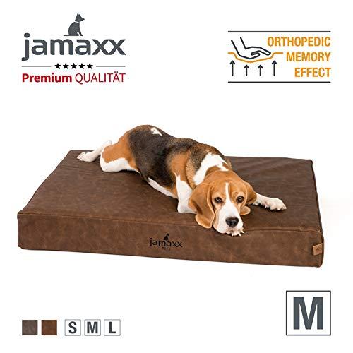 JAMAXX Premium Leder-Matratze - Orthopädisch Memory Visco - Kunstleder Abwaschbar Hygienisch Wasserabweisend Hunde-Matte PDB1017 (M) 90x65 Vintage braun
