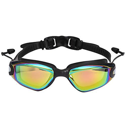 SM SunniMix Gafas de Natación de Moda, Gafas de Natación con Espejo, Sin Fugas, Antiniebla, Protección UV, Gafas de Natación con Tapones para Los Oídos para Hombr - Negro