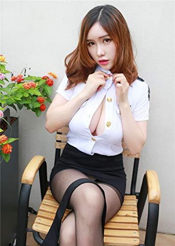 CZXN Nachtwäsche & Bademäntel für Damen BH-Hemden für Damen Sexy Polizistin Kostüm offizielle Dame Cosplay Kleid Erwachsenen Polizei Stewardess Uniform ohne Strümpfe eine Größe