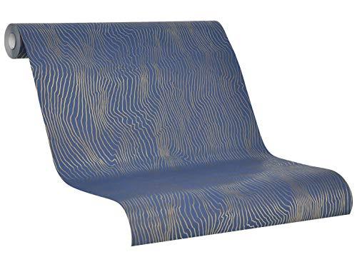 Tapete Blau Gold - Vliestapete Duna - 2020 SCHÖNER WOHNEN Kollektion - für Schlafzimmer, Wohnzimmer oder Küche - 10,05m x 0,53m Streifen, Wellen, Gewellt - Neu