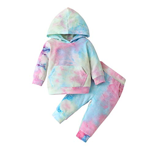 Toddler Baby Girl Tie Dye Long Sleeve Hoodie Sweatshirt Tops Pants 2PCS Outfits Winter Fall Clothes Set (Pink Blue Yellow, 12-18 Months)