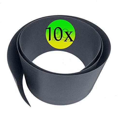 10 Stück Premium Hart PVC Sichtschutzstreifen für Zaun - Anthrazit 252x19 cm - Einzelstabmattenzaun, Doppeltstabmattenzaun- Sichtschutz, Windschutz, Blick-Schutz, Zaun-Blende, Garten, Zaun