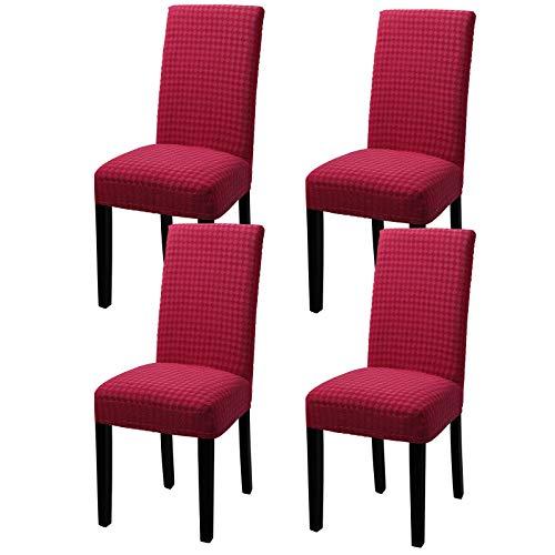 YISUN Fundas Sillas Comedor Elasticas, Fundas Elásticas Chair Covers Lavables Desmontables Cubiertas para Sillas Muy Fácil de Limpiar Duradera(Rojo, Paquete de 4)