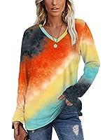 SAMPEEL Womens Tie Dye Shirt for Women Fall Long Sleeve T Shirts Tie Dye V Neck T Shirts M