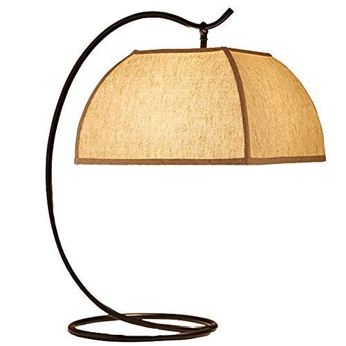 Nieuwe Chinese smeedijzeren tafellampen, moderne creatieve metalen led-bedlamp, ronde leeslamp, eenvoudige cilinder, linnen, lampenkap voor slaapkamer, woonkamer, studeerkamer, decoratieve lampen, A