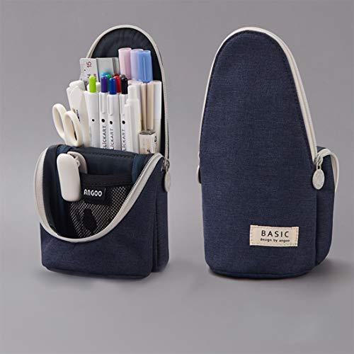 Oyachic Plumier Estuche Escolar Delde Pencil Case Stand Up Pencil Holder Bolsa para Lapices Pen Bag Estudiante Plumier Colegio Kawaii Box para Estudiante (Azul oscuro)