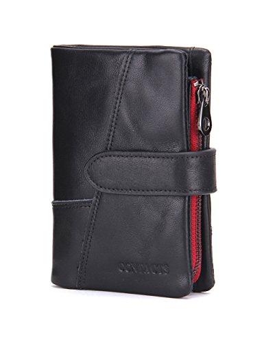 Contacts, portafoglio bi-fold da uomo in vera pelle, morbido, nero