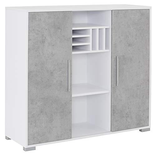 MAJA Möbel System Sideboard, Holzwerkstoff melaminharzbeschichtet, ICY-weiß - Grau Hochglanz, One Size