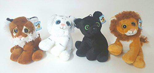 Flos Toys Glubschi - Verschiedene Plüschtiere mit Glitzeraugen - Löwe/Tiger/Weißer Tiger/Puma ca.26 cm - Ab 3 Jahren